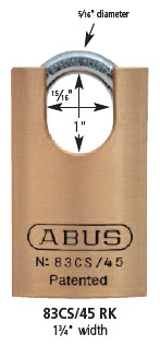 Abus 83cs 45 Solid Brass Padlock With Shrouded Shackle At