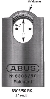 Abus 83CS/50 Chromed Brass Padlock with Shrouded Shackle
